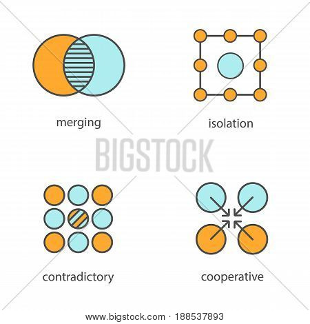 Abstract symbols color icons set. Merging, isolation, contradictory, cooperative concepts. Isolated vector illustrations