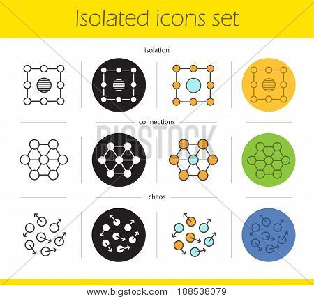 Abstract symbols icons set. Linear, black and color styles. Isolation, connections, chaos concepts. Isolated vector illustrations