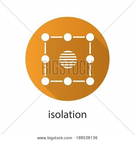 Isolation flat design long shadow icon. Insulation abstract metaphor. Vector silhouette symbol
