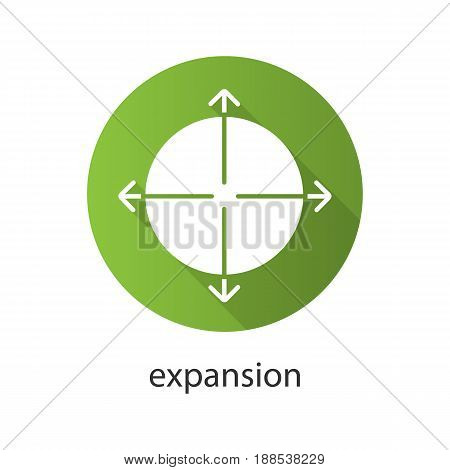 Expansion flat design long shadow icon. Expand abstract metaphor. Vector silhouette symbol