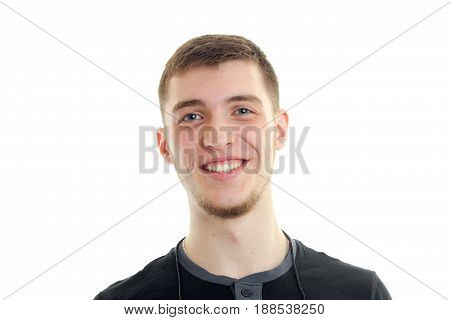 close up portrait of happy young man with smile isolated on white background
