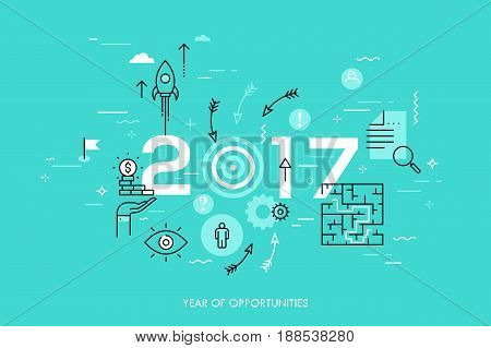 Infographic concept, 2017 - year of opportunities. New trends, prospects and predictions in business challenges, targeting, problem solving. Vector illustration in thin line style for website, banner.