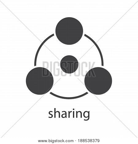 Sharing glyph icon. Silhouette symbol. Sharing abstract metaphor. Negative space. Vector isolated illustration