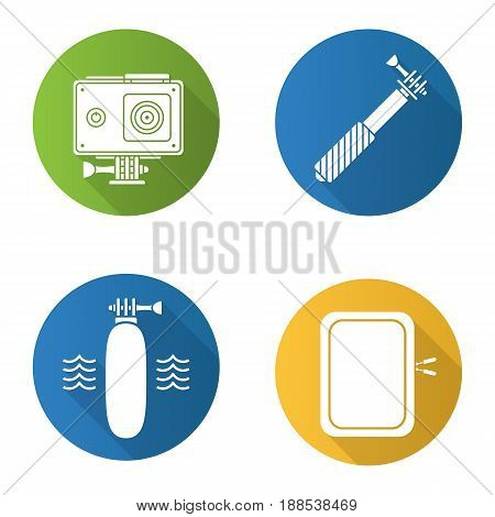 Action camera flat design long shadow icons set. Floating grip, gadget protective case, monopod. Vector silhouette illustration