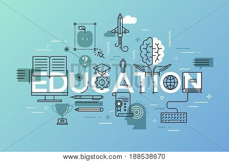 Thin line flat design banner for web page, classical and on-line education, increasing knowledge, choice of universities. Vector illustration concept for website and mobile applications.