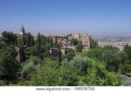 General View Of Medieval Alcazaba Fortress Of Alhambra, From Generalife. Alhambra De Granada Complex