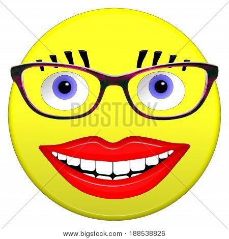 Smiley female emoji with big bright smile big blue eyes and glasses 3D illustration