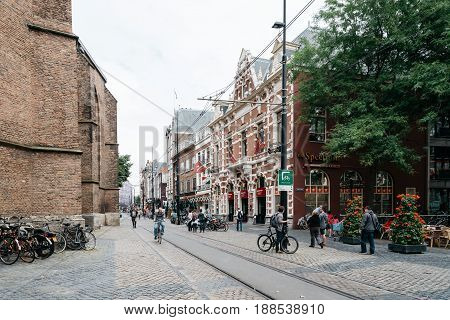The Hague The Netherlands - August 7 2016: View of Square in the city centre of the Hague. The Hague is the seat of the Dutch government and multiple international organizations.