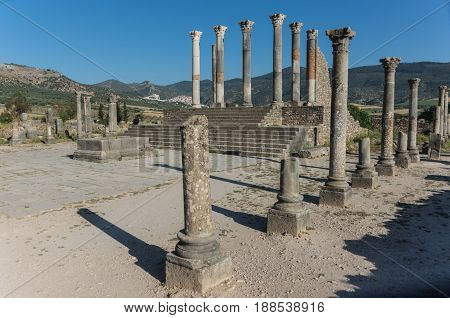 Capitoline Temple At Archaeological Site Of Volubilis, Ancient Roman Empire City, Unesco World Herit