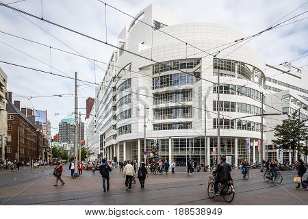 The Hague The Netherlands - August 7 2016: The Hague City Hall. It was designed by American architect Richard Meier. Street view