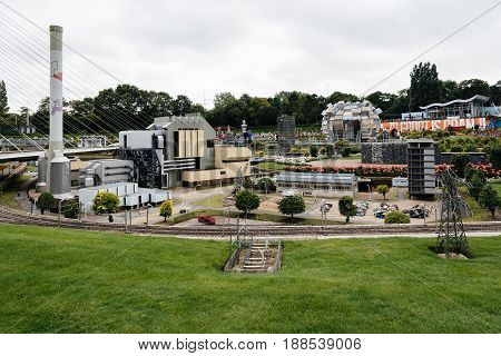 The Hague The Netherlands - August 7 2016: Madurodam. It is a miniature park and tourist attraction in The Hague. It contains scale model replicas of famous Dutch landmarks