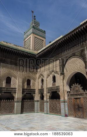 Fez, Morocco - May 9, 2017: Courtyard of the Madrasa Bou Inania in Fez Morocco Africa