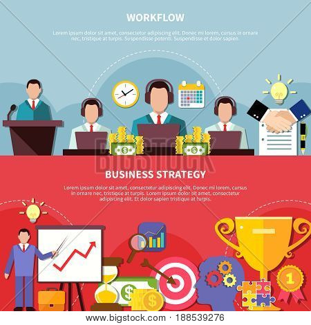Business workflow horizontal banners set with faceless human characters time and money icon compositions and text vector illustration