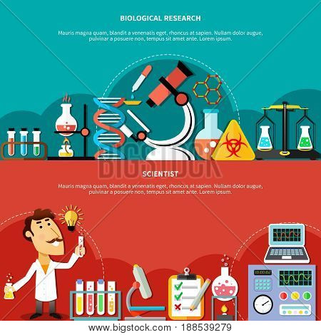 Gorizontal banners concept set of biological and sciences research and chemical experiments flat vector illustration