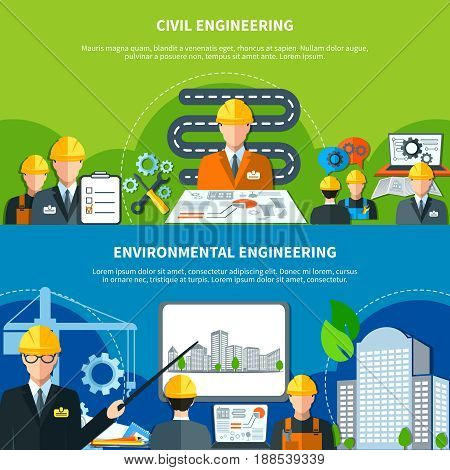 Engineering horizontal banners with flat urban construction eco-friendly image compositions of faceless characters and text vector illustration