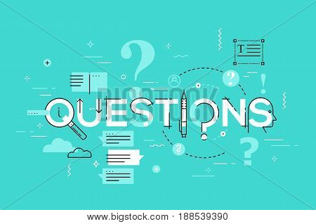 Thin line design concept for faq website banner. Vector illustration concept for frequently asked questions and answers, client or customer support, product and service information.