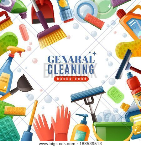 General cleaning frame with dishware brushes wipes mops soaps chemical detergents on white textured background vector illustration