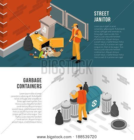 Two horizontal isometric garbage recycling banner set with street janitor and garbage containers descriptions vector illustration