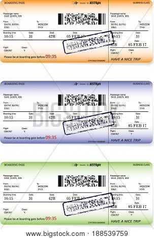 Three variants of boarding pass ticket patterns. Vector illustration