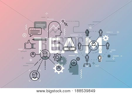 Thin line flat design template for web page, teamwork, brainstorming, leadership. Modern vector illustration concept of word team for website and mobile applications banners. Icons collection