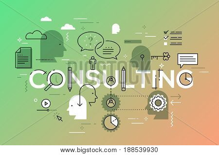 Flat Style, Thin Line Art Design. Set of application development, questions and answers, information and mobile technologies, icons and elements. Modern concept vectors collection. Consulting Concept.