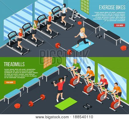 Two horizontal gym isometric banner set with read more link and exercise bikes treadmills descriptions vector illustration
