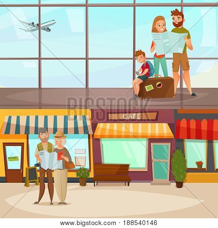 Banners with traveling people including family in airport and couple with map in city vector illustration