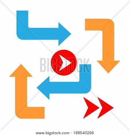 Set color Arrows and directions signs in flat style for business. Vector isolated  blue and orange arrows on white background. right turn, left turn, angle, Forward, backward.