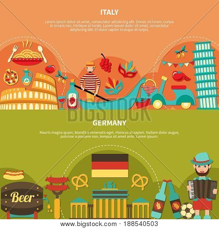 Travel banners set with italian and german food drinks and places of interest flat images with text vector illustration