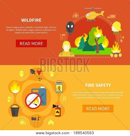 Firefighting safety tools and forest windfire horizontal banners set flat isolated vector illustration