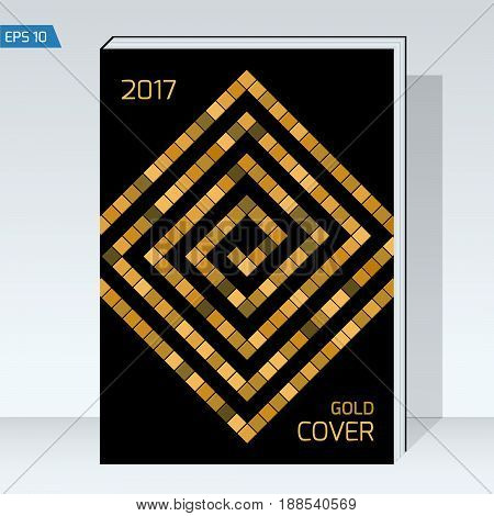 Dark design Cover brochure. Gold labyrinth of cubes on black backgrounds. Vector template Layout for annual report, book cover, placards, posters, flyers. format A4.
