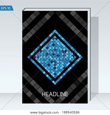 Dark design Cover brochure. Blue square on black backgrounds. Vector template Layout for headline, book cover, placards, posters, flyers. format A4.