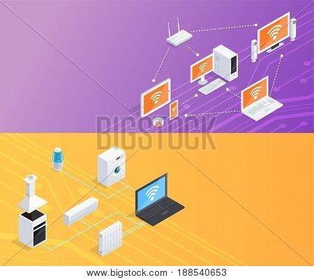 Internet of things smart home computer remote controlled household appliances 2 isometric banners set background vector illustration