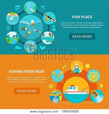 Fishing banners with fish-tackle flat image compositions silhouette sailor signs text and read more button vector illustration
