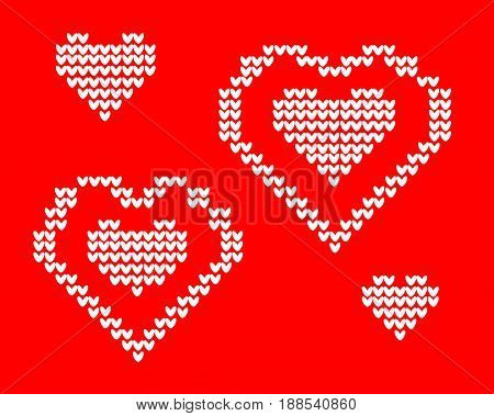 knit card Love. On red background of hearts. Postcard 2017 Valentines day.