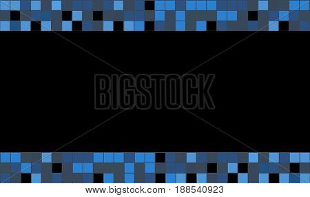 Blue squares on black background for loyalty card. Vector template Layout.