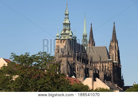 St. Vitus Cathedral In The Hradcany District In Prague