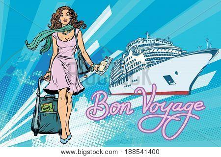 Beautiful woman passenger Bon voyage cruise ship. Pop art retro vector illustration