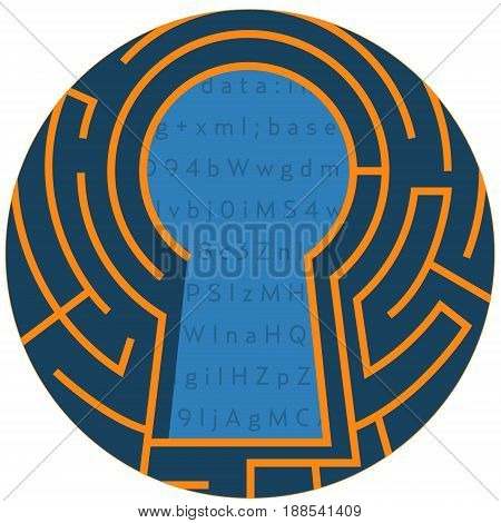 Digital Keyhole. Data Encryption Lock Abstract Icon. Cyber security, hacking, information security conceptual illustration isolated vector. Transparent.