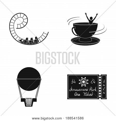 Roller coaster ride, balloon with basket, caruelle cup, ticket to the entrance to the park. Amusement park set collection icons in black style vector symbol stock illustration .