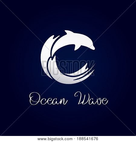 Dolphin waves resort logo silver. Tourist or healthcare business on shore, sports silver colored icon as surf. Sea natural food and products vector idea