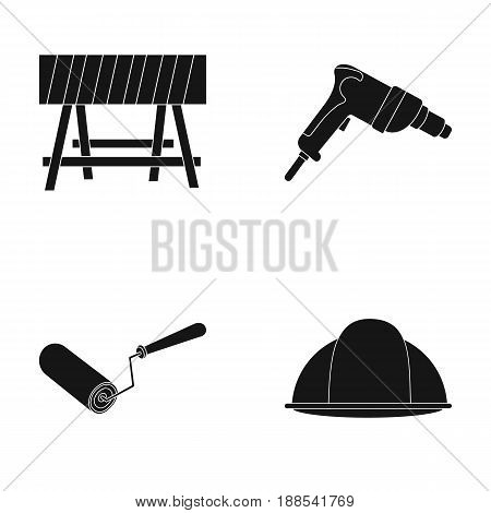 A barrier on the construction site, an electric drill, a roller for painting and a helmet. Build and repair set collection icons in black style vector symbol stock illustration .