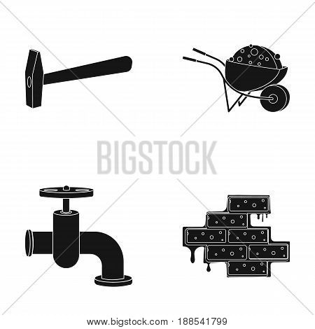 Hammer, wheelbarrow with cargo, water faucet, brickwork. Build and repair set collection icons in black style vector symbol stock illustration .