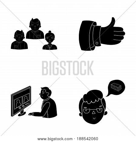 Video conference, business thoughts, a badge of okay and negotiations set collection icons in black style vector symbol stock illustration .