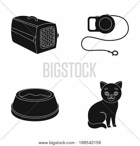 A container for an animal, a roulette leash, a bowl of food, a kitten.Cat set collection icons in black style vector symbol stock illustration .