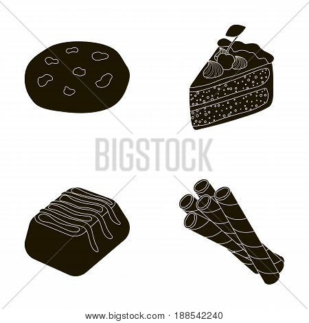 American cookies, a piece of cake, candy, wafer tubule. Chocolate desserts set collection icons in black style vector symbol stock illustration .