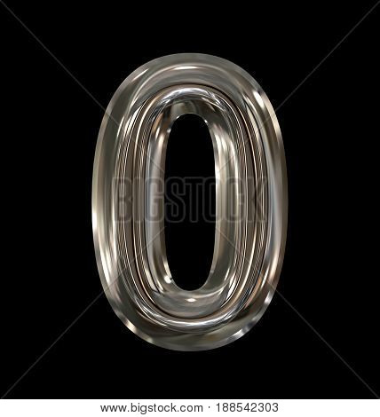 Number 0 Rounded Shiny Silver Isolated On Black