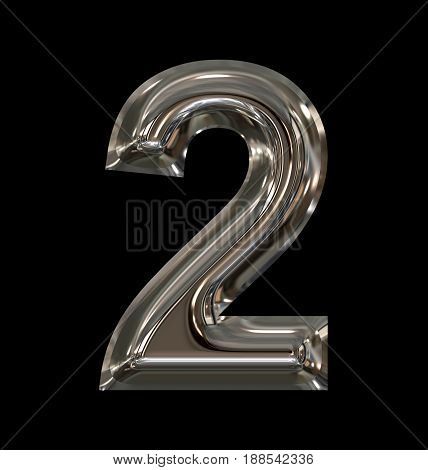 Number 2 Rounded Shiny Silver Isolated On Black