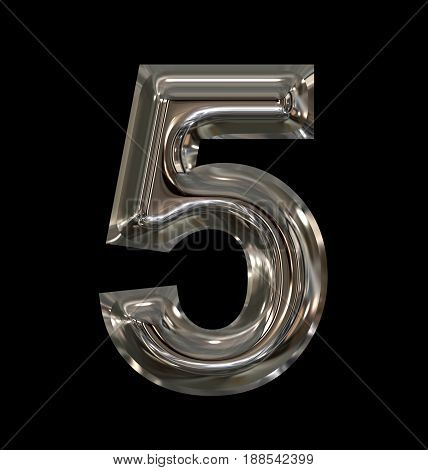 Number 5 Rounded Shiny Silver Isolated On Black