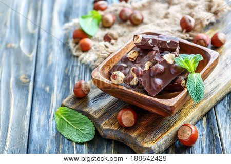 Dark Chocolate With Hazelnuts.